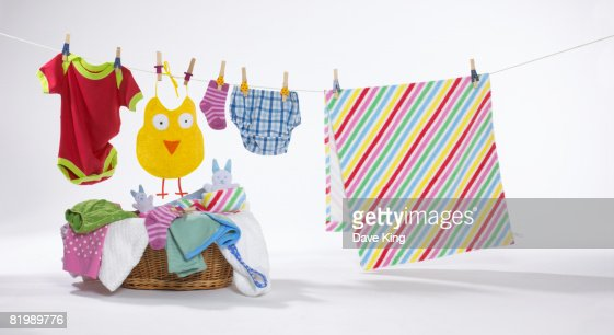 Colourful clothes on washing line