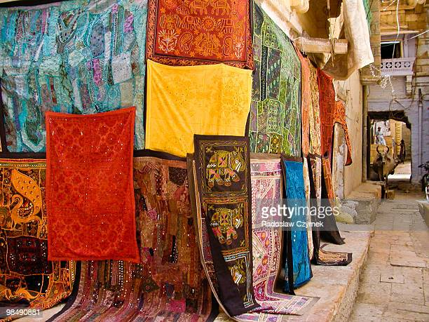 Colourful display of a carpet shop in Jaisalmer