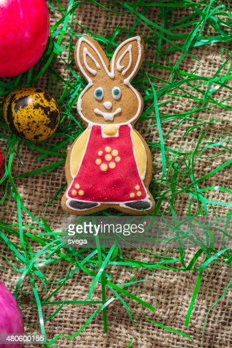 Colourful Easter eggs and gingerbread bunny : Stock Photo