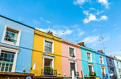 Colourful English Terraced Houses in Notting Hill, London
