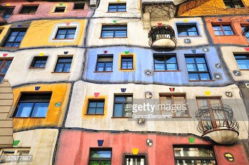 Colourful Facade of the Hundertwasser House, Hundertwasserhaus, Vienna, Austria