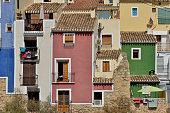 Colourful facades, Villajoyosa or La Vila Joiosa, Costa Blanca, Spain