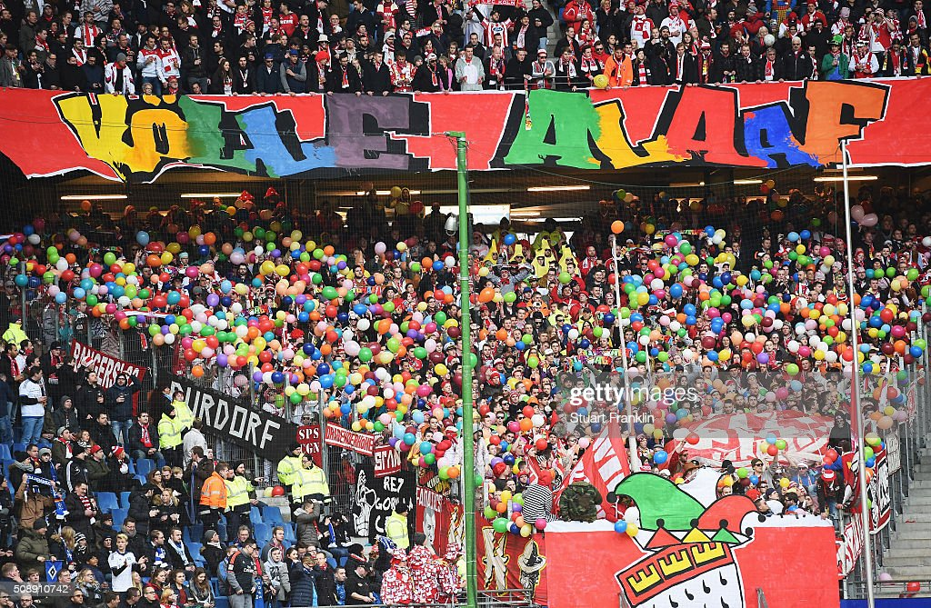 Colourful fans of Cologne during the Bundesliga match between Hamburger SV and 1. FC Koeln at Volksparkstadion on February 7, 2016 in Hamburg, Germany.