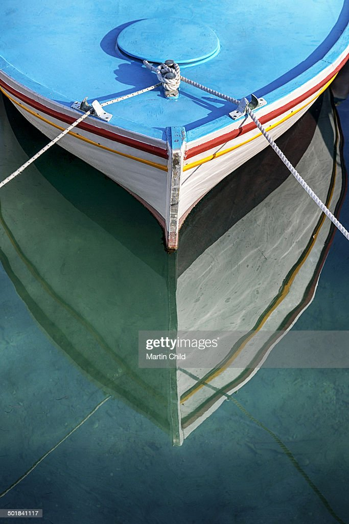 A colourful fishing boat in Rhodes