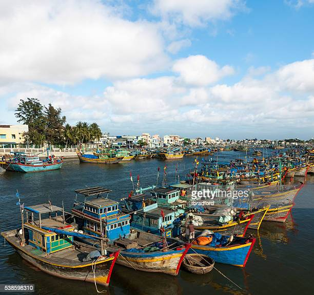 Colourful Fishing Boats In Phan Thiet Harbour, Vietnam