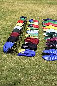 Colourful gear arranged in a row