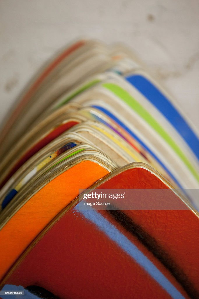 Colourful hand painted skimboards : Stock Photo
