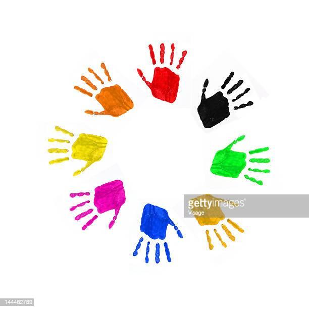 Colourful handprints