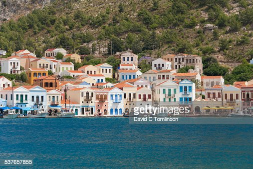 Colourful harbourside houses, Kastellorizo, Greece