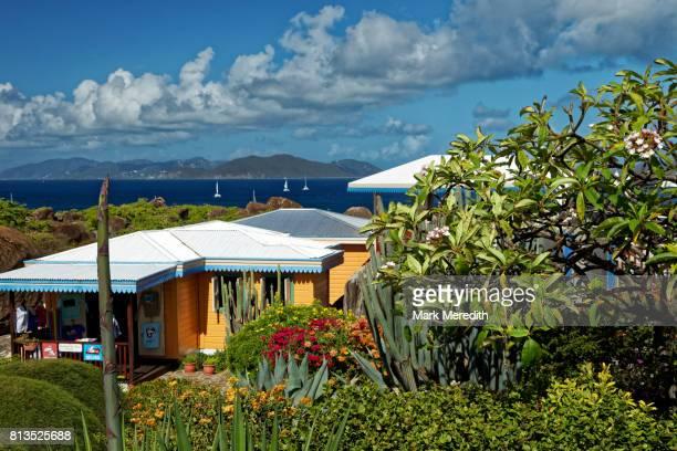 Colourful houses above the Baths National Park, Virgin Gorda, British Virgin Islands