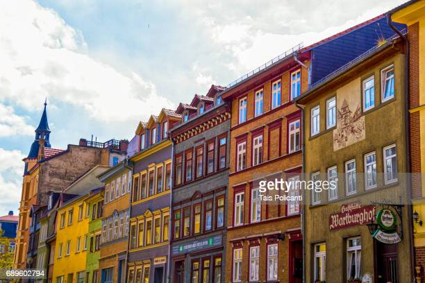 Colourful houses facades in the center of Eisenach (Bach hometown) in The Free State of Thuringia, Germany, Europe