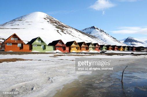 Colourful houses in Longyearbyen, Svalbard, Norway