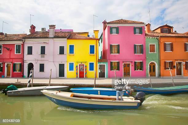 Colourful houses near canal
