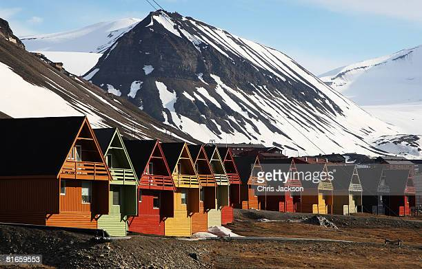 Colourful huts are seen during Midsummer on June 21 2008 in Longyearbyen Norway Longyearbyen is the seat of Norwegian local administration in...