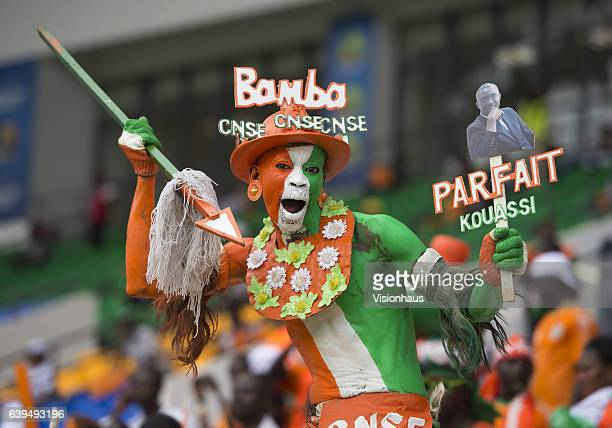 Colourful Ivory Coast fans enjoying the football during the Group C match between Ivory Coast and DR Congo at Stade Oyem on January 20 2017 in Oyem...