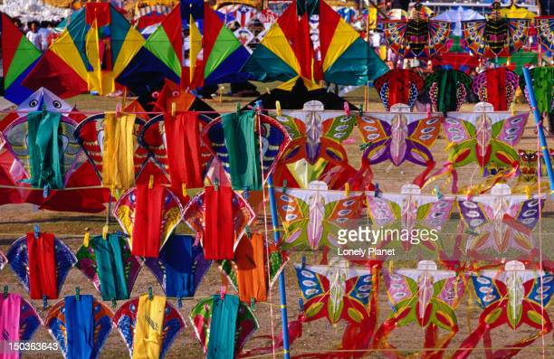 Colourful kites for sale in gardens of Sanam Luang in Ratanakosin.