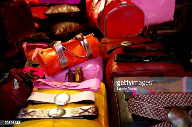 Colourful leather bags on display at Souk Filala.
