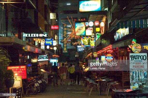 Colourful lights along Soi 4 Th Silom at night.