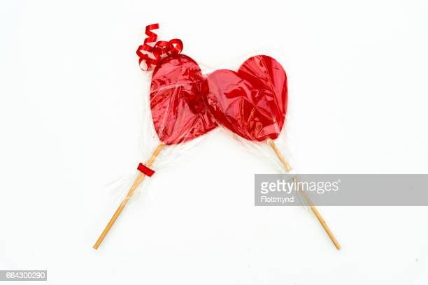 Colourful lollipop in the shape of a heart