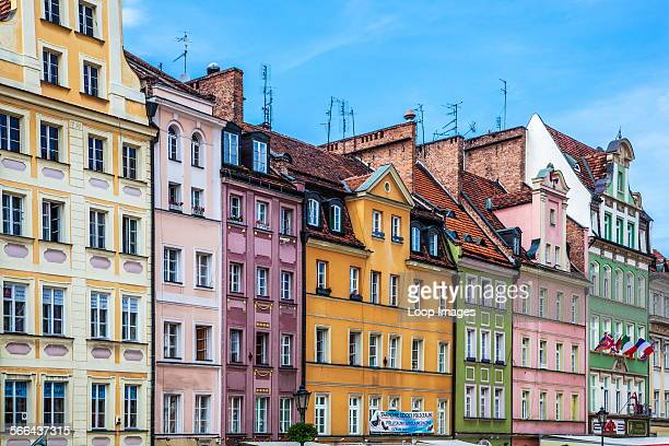 Colourful medieval houses in Wroclaw's old town Market Square or Rynek
