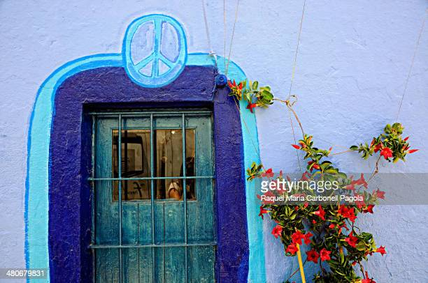 Colourful painted house wall