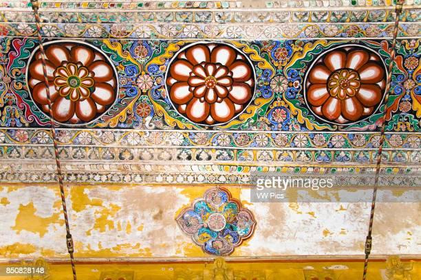 Colourful painting on a ceiling in Thirumalai Nayak Palace Madurai Tamil Nadu India
