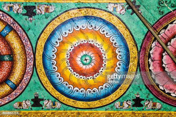 Colourful painting on a ceiling Meenakshi Temple Madurai Tamil Nadu India