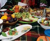 Colourful picnic spread.