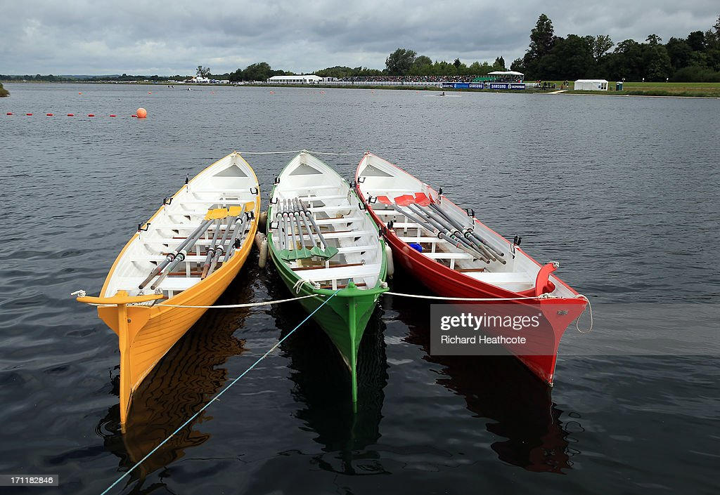 Colourful rowing boats sit on the lake during the third day of the 2013 Samsung World Rowing Cup II at Eton Dorney on June 23, 2013 in Windsor, England.