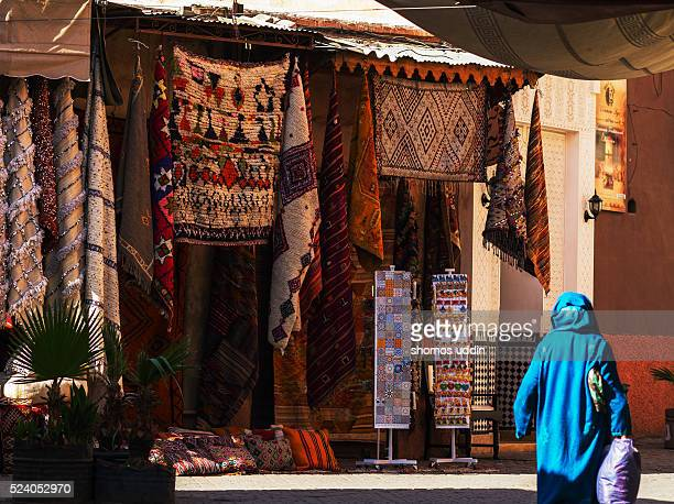 Colourful rugs at the souk of Marrakech