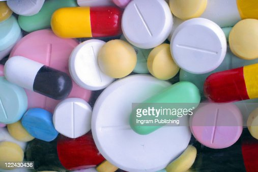 A colourful selection of pills capsuals and drugs. Melbourne Australia. : Stock Photo