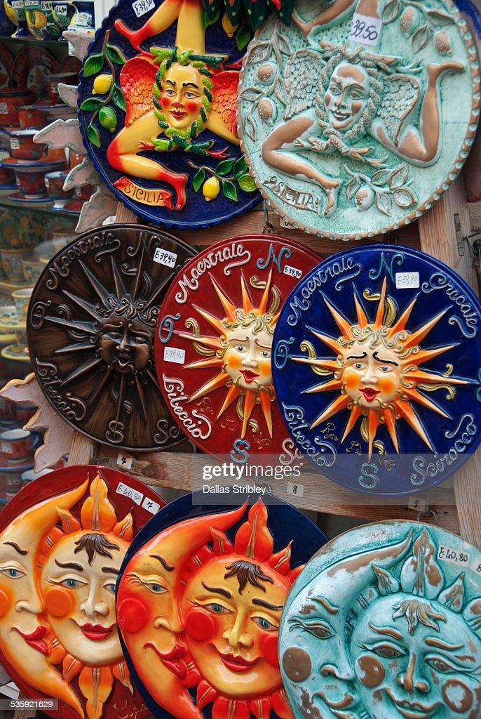Colourful Sicilian ceramics for sale in Lipari : Stock Photo