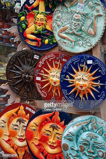 Colourful Sicilian ceramics for sale in Lipari