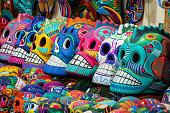 Colourful skulls at street market in San Miguel de Allende, Mexico, Day of Dead (Dia de los Muertos) concept.