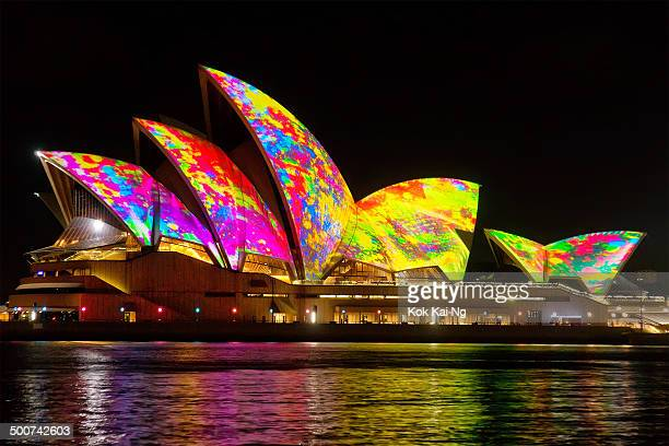 CONTENT] Colourful splotches of paint are projected on the sails of the Sydney Opera House as part of the Vivid Sydney festival