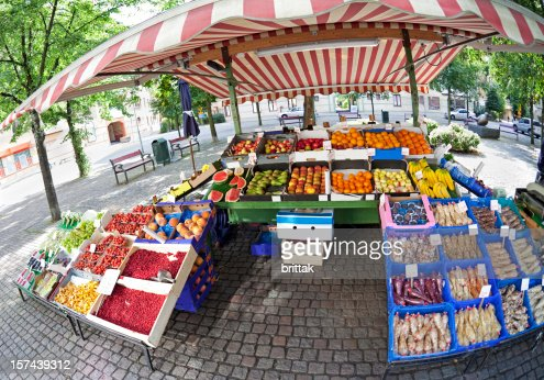Colourful stall at Farmers market, Stockholm. Fisheye lens.