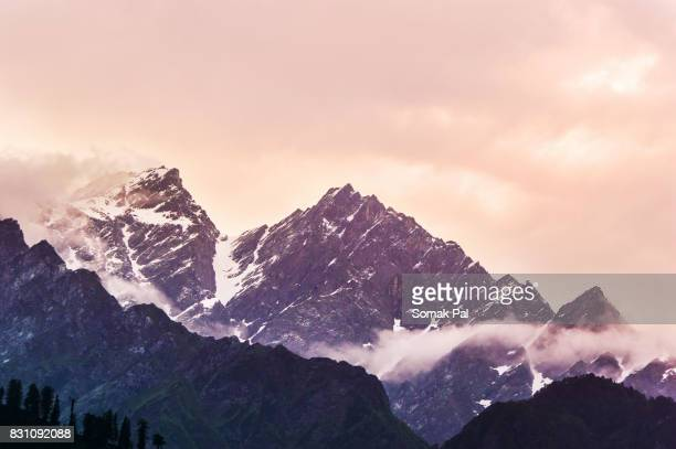 Colourful Sunset Amongst Towering Peaks of Himanlayan Mountain
