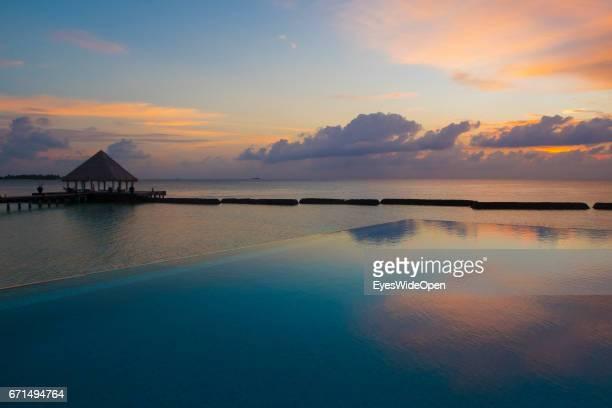 Colourful Sunset at Coco Bodu Hiti NorthMaleAtoll on February 26 2017 in Male Maldives