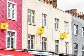 Colourful terraced houses with TO LET signs around Camden Town in London