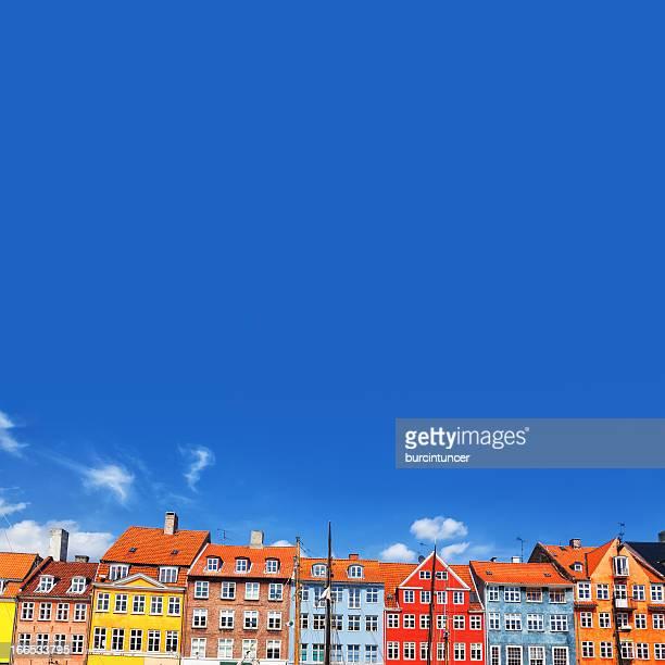 カラフルなタウンハウスでニューハウン,コペンハーゲン,デンマーク