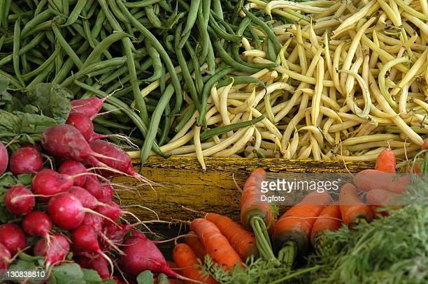 Colourful vegetables (radish, beans, carrots), Victuals Market, Munich, Germany