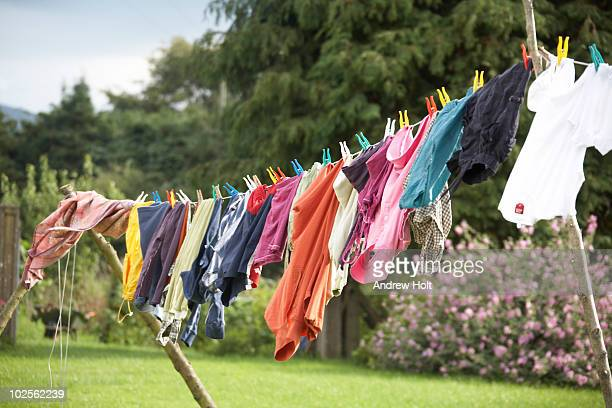 Colourful washing on a clothes line