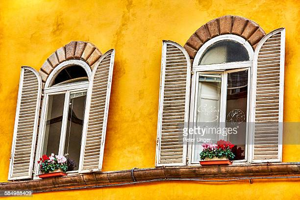 Colourful windows and shutters, .Lucca, Tuscany