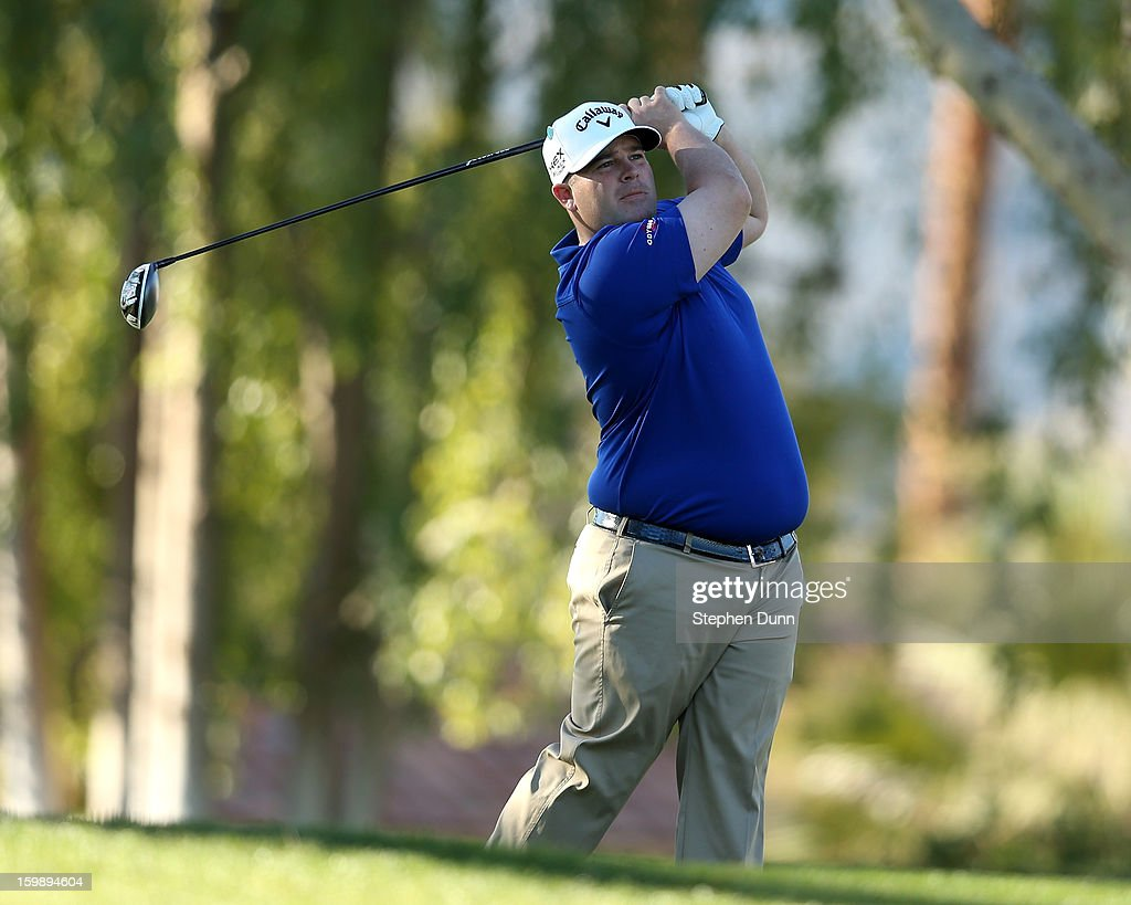 Colt Knost hits his tee shot on the second hole during the third round of the Humana Challenge In Partnership With The Clinton Foundation on the Palmer Private Course at PGA West on January 19, 2013 in La Quinta, California.
