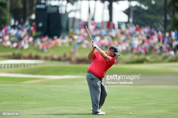 Colt Knost of the United States plays a shot on the 11th hole during the final round of THE PLAYERS Championship at the Stadium course at TPC...