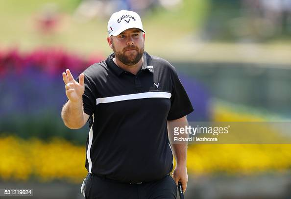 Colt Knost of the United States reacts to his birdie on the 17th green during the second round of THE PLAYERS Championship at the Stadium course at...