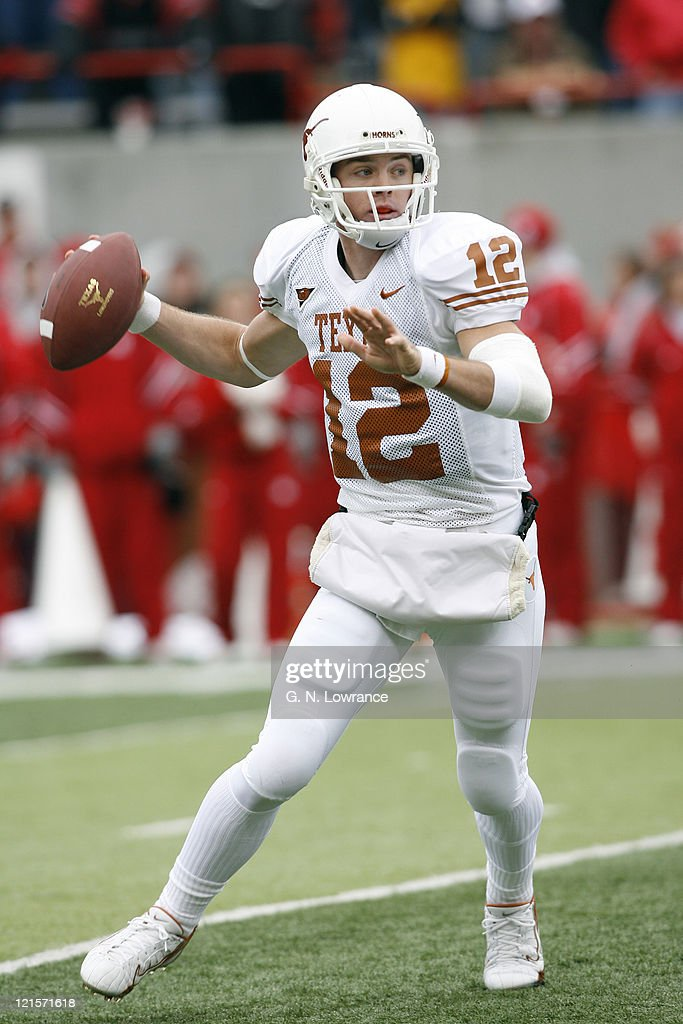 Colt McCoy of Texas attempts to pass during action between the Texas Longhorns and Nebraska Cornhuskers on October 21, 2006 at Memorial Stadium in Lincoln, Nebraska. Texas won the game 22-20.