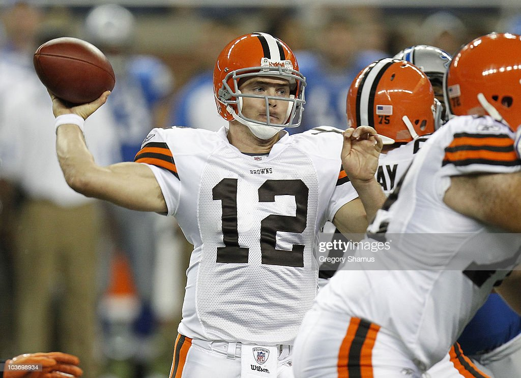 Colt McCoy #12 of the Cleveland Browns throws a fourth quarter pass while playing the Detroit Lions in a preseason game on August 28, 2010 at Ford Field in Detroit, Michigan.