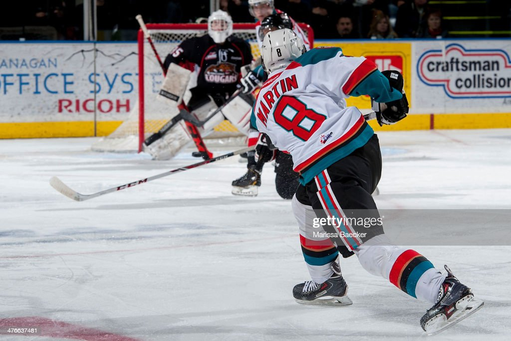 Colten Martin #8 of the Kelowna Rockets takes on shot against the Prince George Cougars on February 25, 2014 at Prospera Place in Kelowna, British Columbia, Canada.