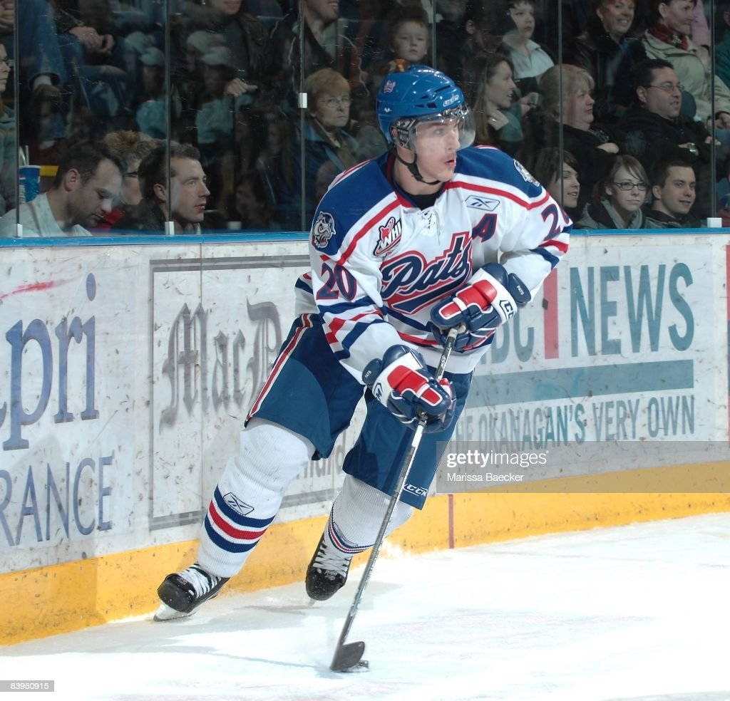 Colten Teubert of the Regina Pats skates against the Kelowna Rockets on December 5 2008 at Prospera Place in Kelowna Canada Teubert is a 2008 NHL...